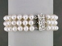 3-STRAND WHITE PEARL BRACELET WITH DIAMOND PAVE CLASP thumbnail